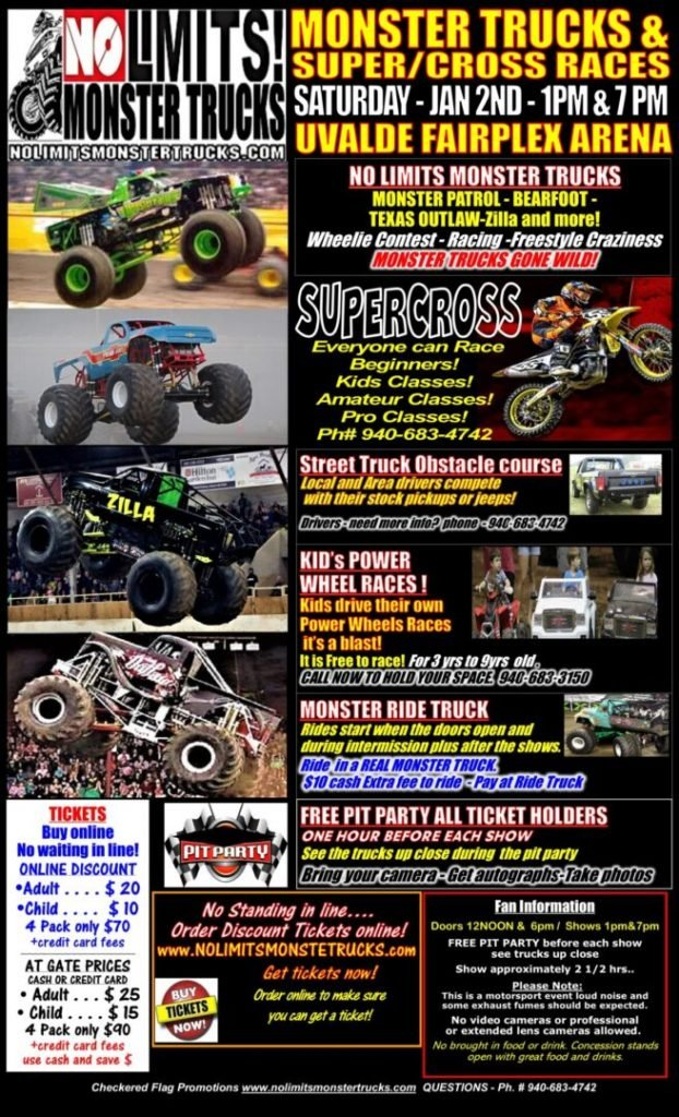 No Limits! Monster Trucks is coming to Uvalde, TX in 2021!