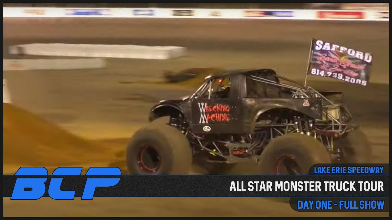all star monster truck tour lake erie speedway 2020 youtube show one